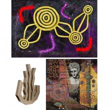 Artworks by Michael Nelson Jagamara and Imants Tillers