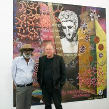 MNJ with Imants Tillers in front of their work 'The Messenger'